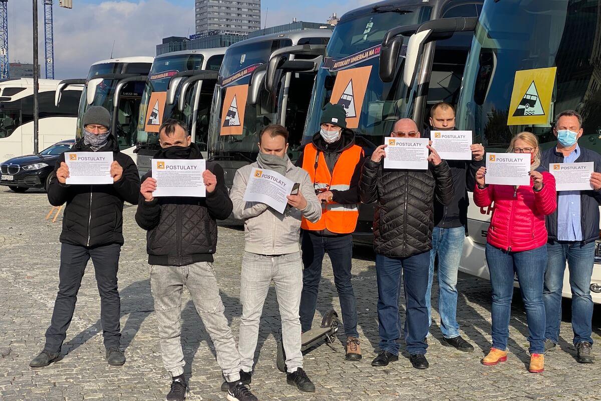 Protest branży autokarowej / fot. MM