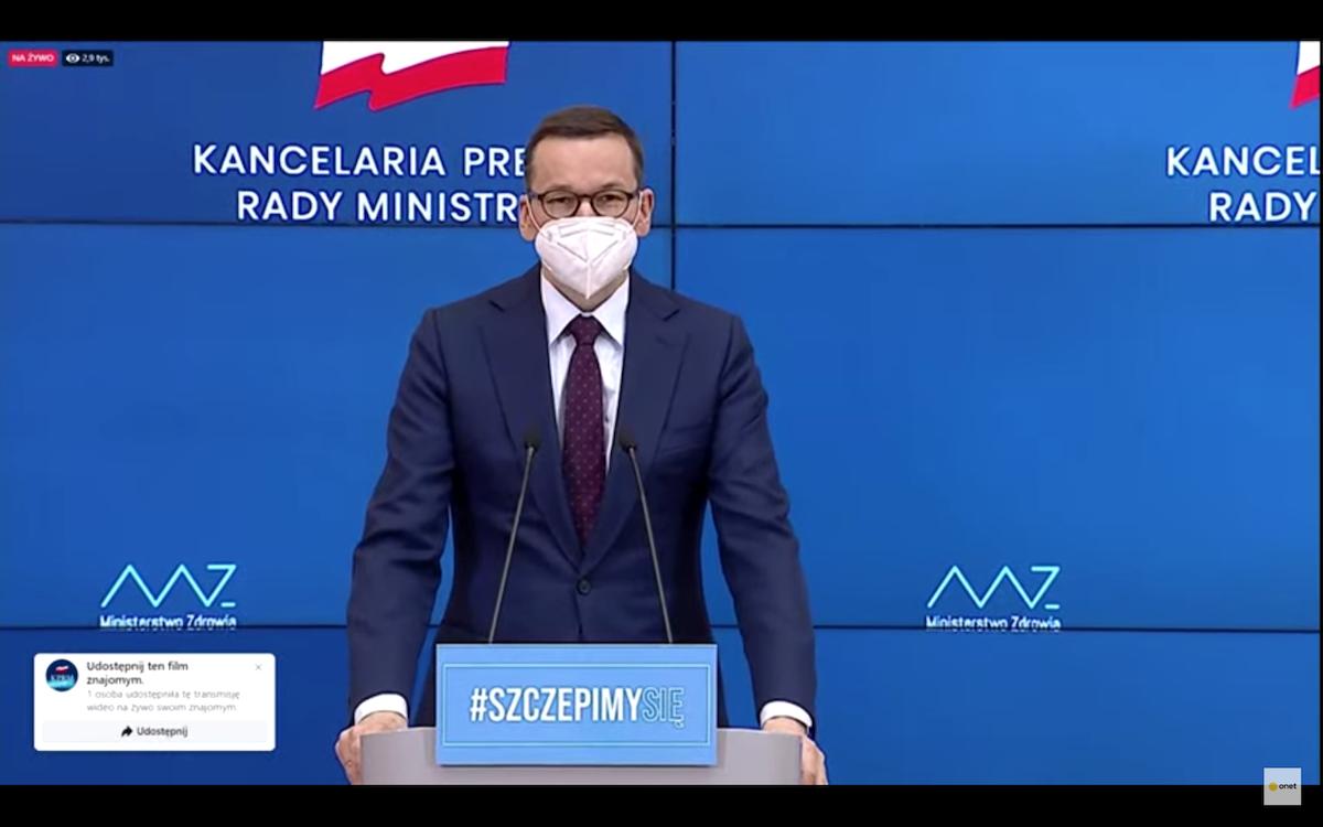 Polish PM Mateusz Morawiecki at press conference on lockdown in Poland